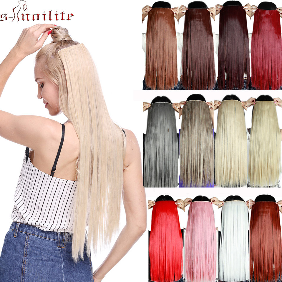 S-noilite Clip In Hair Extension Long Straight Synthetic Hair Piece Clip Hair Red Pink Purple Grey Hairpiece Fake Hair For Women