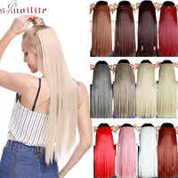 S-noilite Long Straight Women Clip In One Piece Fake Hair Synthetic Hair 5 Clip In Hair Extension Red Pink Hair Pieces For Women