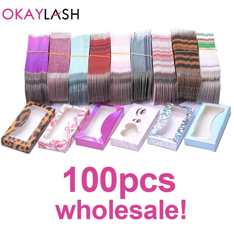 OKAYLASH Newes 50/100pcs Carton Paper Packing Box  For 25mm Long EyeLash Wholesale Bulk Cheap Pretty Lashes Storage Packaging