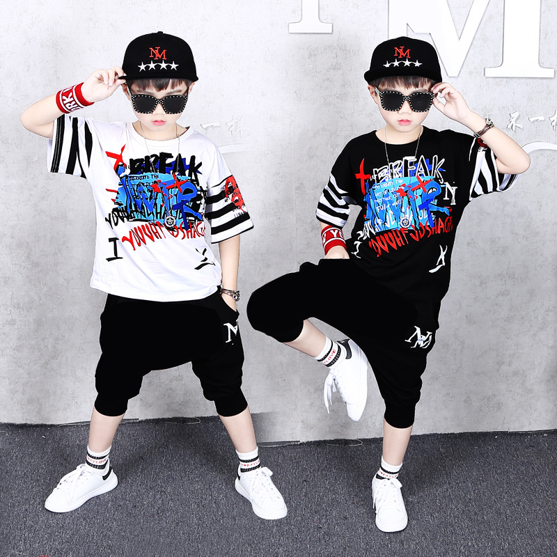 Less Children Hip Hop Set BOY'S Loose Short Sleeve Hee Harem Pants Childrenswear Jazz Young STUDENT'S Performance Costume Fashio
