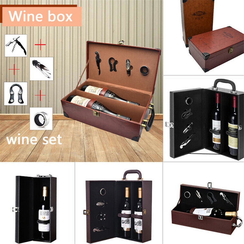 PU Leather Wine Boxes Gift Box High Quality Packing Boxes Wholesale Wine Gift Box Solid Top-grade Commercial Gift Packing