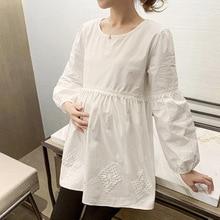 White Cotton Maternity Blouse Spring Korean Fashion Shirt Clothes for Pregnant Women Sweet Pregnancy Tops Drop Shipping