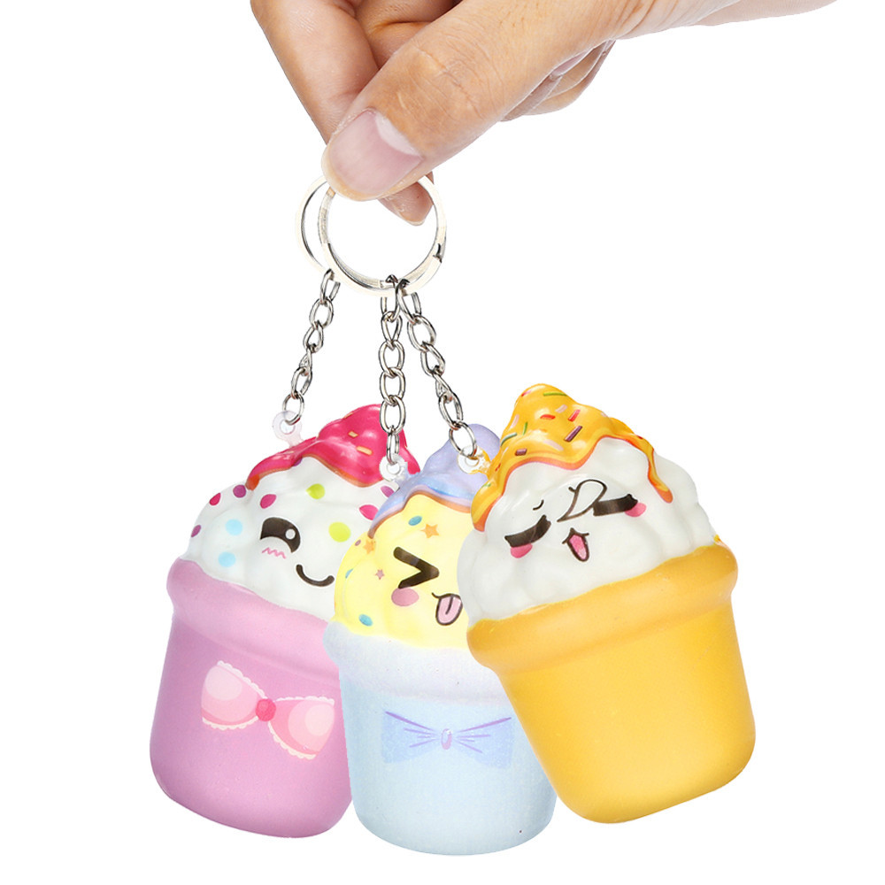 Random Style Squishies Kawaii Ice Cream Slow Rising Cream Scented Keychain Stress Relief Toys Decompression Slow Rebound Juguete