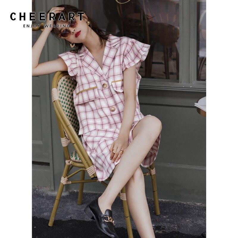 Женское клетчатое платье блейзер CHEERART, свободное дизайнерское мини платье на пуговицах с рукавами лепестками и карманами, лето 2020|Платья|   | АлиЭкспресс