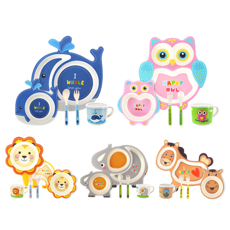 5Pcs/set Eco-friendly Bamboo Fiber Baby Plate Dishes Children Tableware Set Dinnerware Creative Feeding Bowl Separation Plate