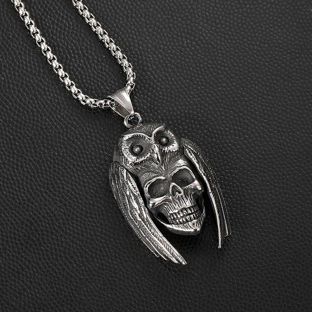 STAINLESS STEEL SKUL OWL MASK NECKLACE