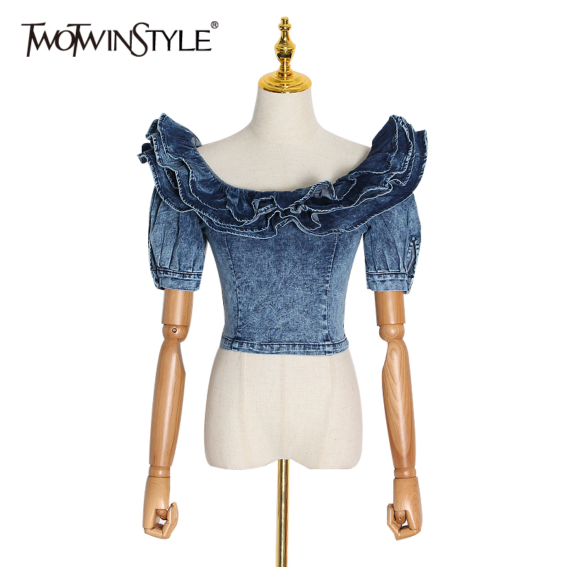 TWOTWINSTYLE Denim Shirts For Women Puff Sleeve Square Collar Patchwork Ruffle Streetwear Shirts Female 2020 Spring Fashion New