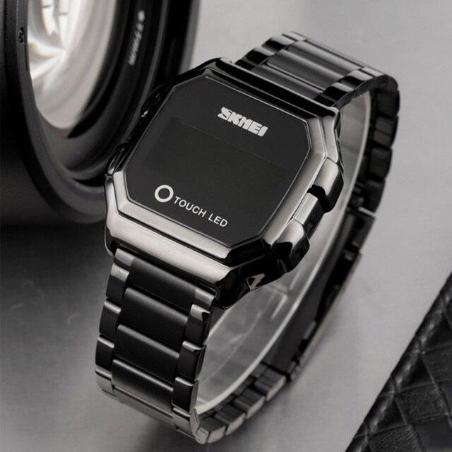 Skmei touch led digital relógios de ouro dos homens data tempo criativo relógios de pulso moda à prova dwaterproof água relógio esporte reloj hombre 4