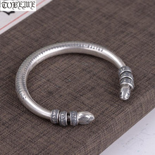 100% 990 Silver Tibetan Six Words Beaded Bangle Pure Silver The Buddhist Heart Sutra Cuff B