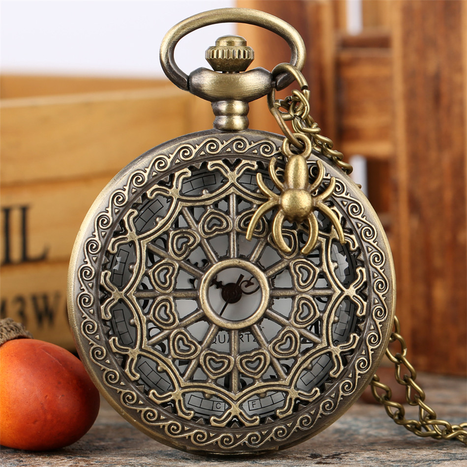 Vintage Bronze Spider Web Quartz Pocket Watches Men Women Retro Necklace Watch Hollow Pendant Pocket Clock Gifts