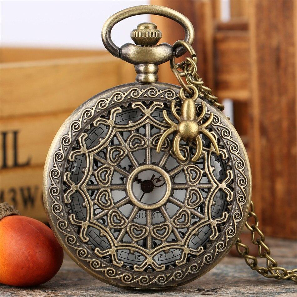 Vintage Bronze Spider Web Quartz Pocket Watches Men Women Retro Necklace Watch Hollow Pendant Pocket Clock Gifts