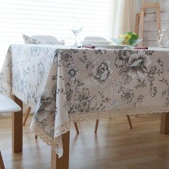 Mantel de algodón con estampado Floral, Lino rústico, Mantel con borde de encaje Rectangular para comedor, cocina, Mantel Protector de mesa