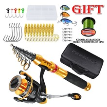 Telescopic Fishing Rod Combo and Reel Full Kit Spinning Fishing Reel Gear Pole Set 500M Fishing Line Lures Hooks Jig Head new lure rod set spinning rod fishing reel combos full kit 1 8m 3 0m fishing rod pole reel line lures hooks portable bag