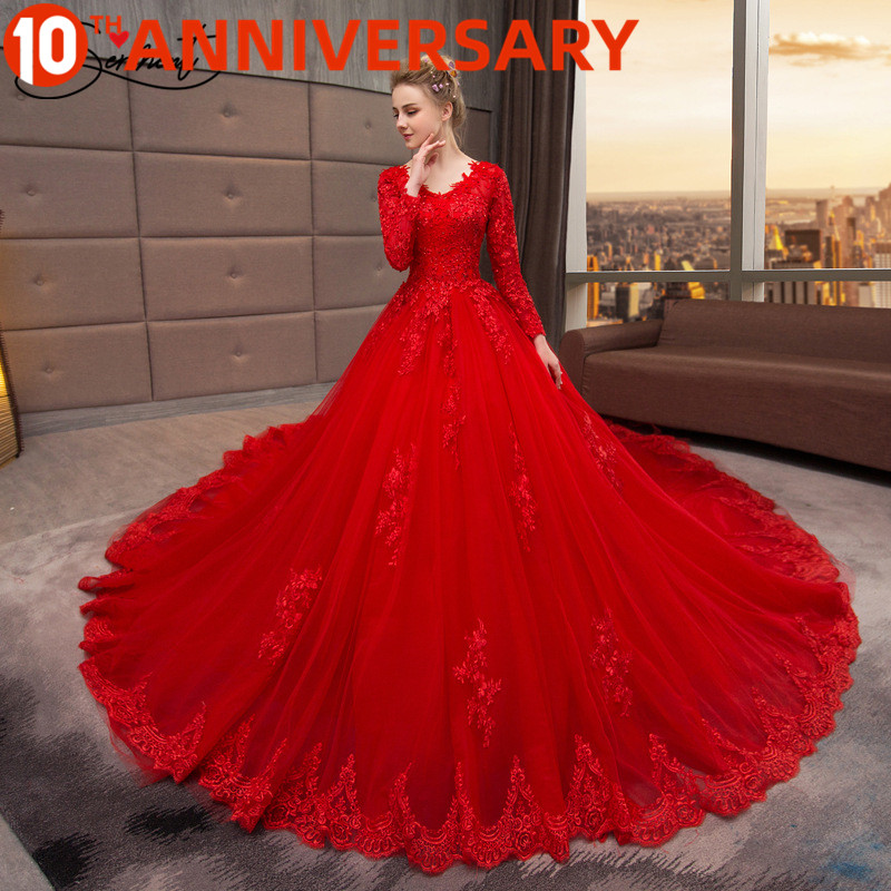 OllyMurs Red Luxury Wedding Dress Cathedral Floral Print Cathedral Lace Up Long Sleeve Wedding Dress Ruffles Free Custom Made