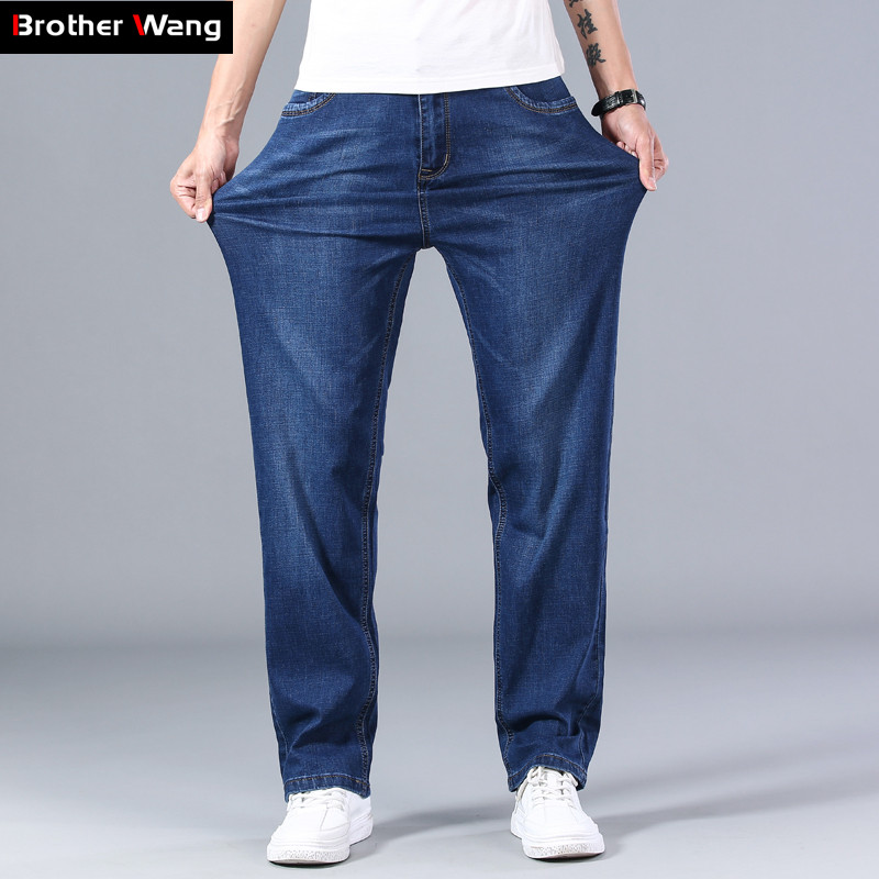 2020 New Classic Men's Thin Blue Jeans Advanced Stretch Loose Straight Denim Trousers Male Brand Pants Plus Size 40 42 44