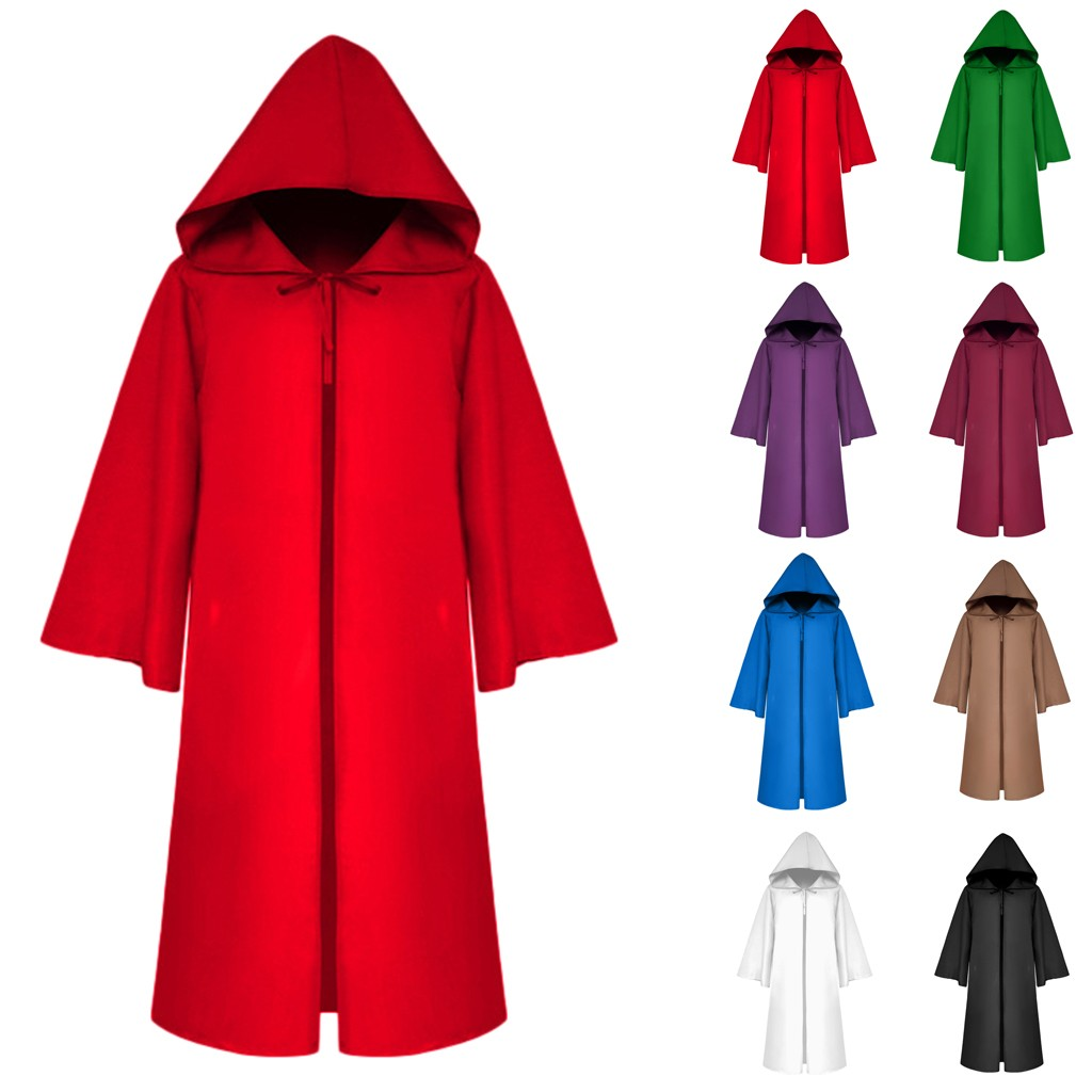 Coat Cloak Hooded Vintage Autumn Gothic Men's Winter Fashion Cosplay Solid Outwear Bandage