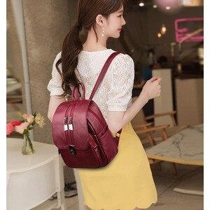 Image 5 - Однотонные кожаные рюкзаки 2019, Женский дорожный вместительный рюкзак, школьный рюкзак в стиле преппи, женский рюкзак для ноутбука, рюкзак