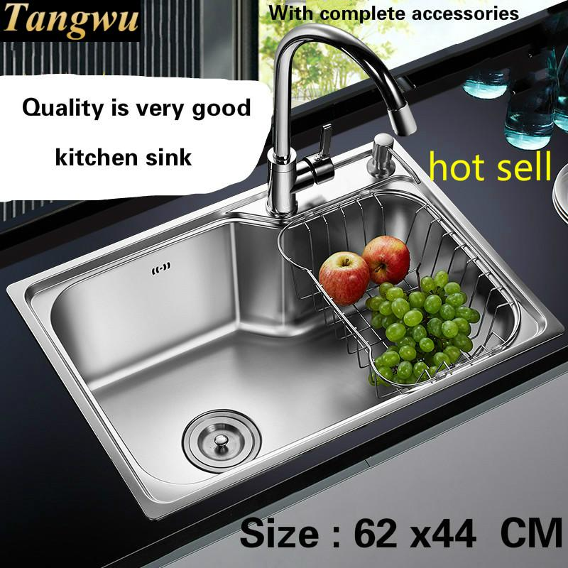 Free Shipping Food Grade 304 Stainless Steel Hot Sell Kitchen Sink 0.8 Mm Thick Ordinary Single Trough Washing Dishes 62x44  CM
