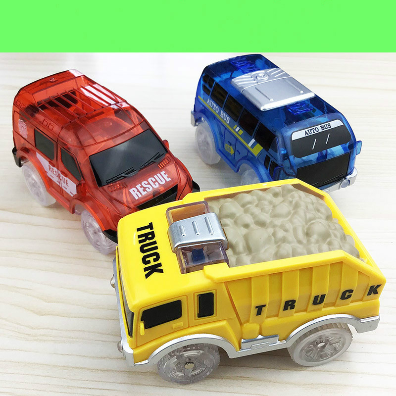 Electronic Car Toy LED Light Up Cars For Glow Race Magical Track Flashing Kid Railway Luminous Machine Track Car Brinquedos