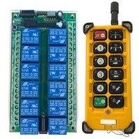3000m DC12V 24V 12CH controlador de Radio mando inalámbrico de radiofrecuencia grúa sistema receptor + Control remoto