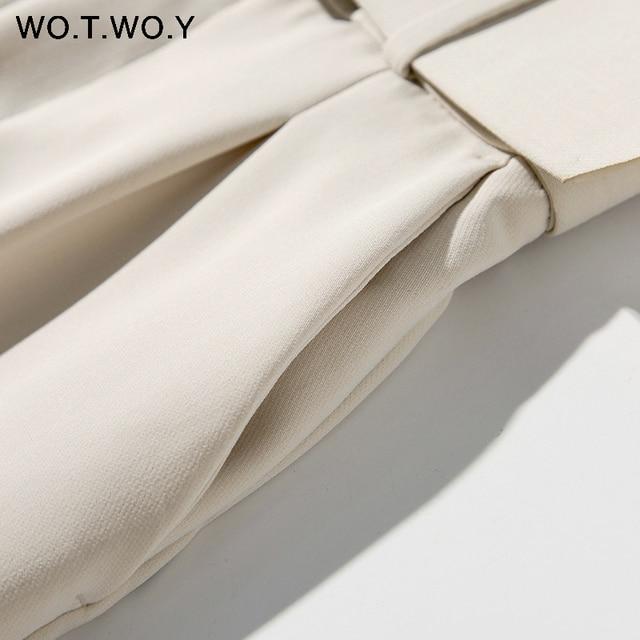 WOTWOY Elegant Formal High Waist Pants Women Skinny Office Lady Pencil Pants Women Pockets Sashes Ankle-Length Trousers Women 6