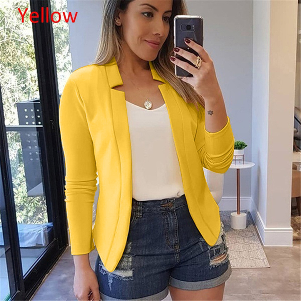 Womens Ladies Cardigan Solid Long Sleeve Pocket Coat Outerwear Trench Coat One Button Suit Lady Blazers Work Wear TOP 9.27