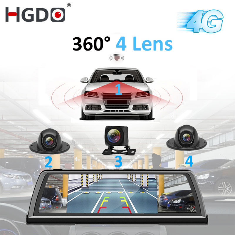 HGDO H100 4 Lens ADAS Car DVR Camera Video Recorder Mirror 4G 10 Media Rearview Mirror 4 Core Android Dash Cam FHD 1080P GPS image