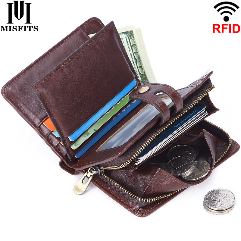 MISFITS Fashion Men Wallet Genuine Leather RFID Short Wallets Zipper Coin Purse Man Small Money Bag Multifunctional Card Holder