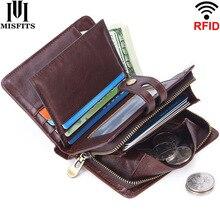 MISFITS fashion men wallet genuine leather RFID short wallets zipper coin purse man small money bag multifunctional card holder