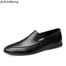 spring Men #8217 s Loafers Casual Business Male Flat Shoes slip on fashion Work Breathable Mens Driving Flat Sneakers moccasins cheap fuhaobang Genuine Leather Cow Leather Rubber H1901005 Slip-On Solid Fits true to size take your normal size Massage Full Grain Leather