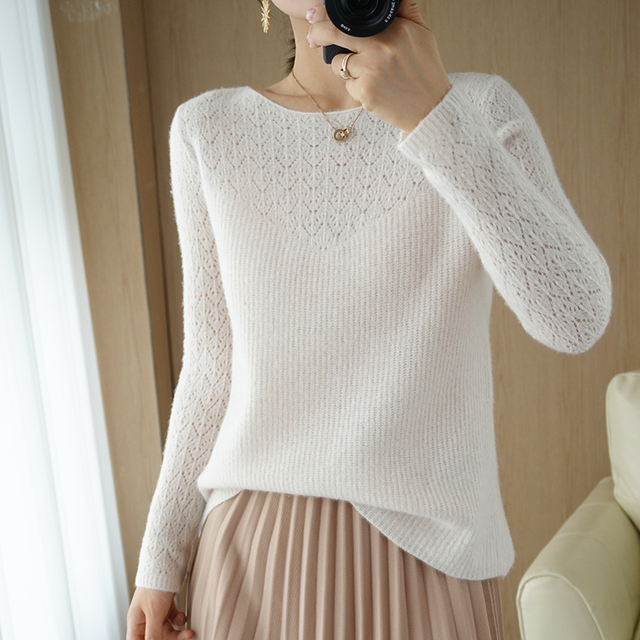 Autumn and winter new style 100% pure wool ladies sweater O-neck knitted pullover pure color slim soft ladies sweater 1