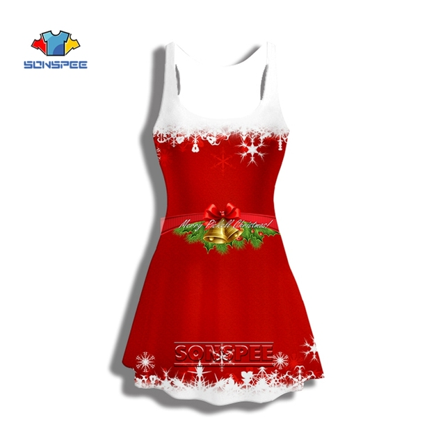 SONSPEE Red Christmas Dress Winter Vintage Santa Claus 3D Print Elegant Party Dresses Sexy Women Christmas Clothes Vestidos A3