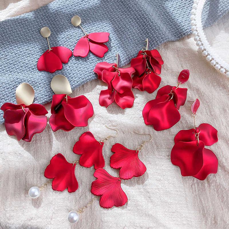 2020 אופנה חדשה אדום תליון עגילי בעבודת יד פרח קריסטל עגילי הצהרת המפלגה מתנדנדת עגילים לנשים מתנה