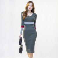2019 Women Winter Dresses V Neck Mid Calf Sheath Office Lady Cotton Dresses Striped Long Sleve Sexy Woman Party Night Dresses