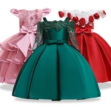 Nova menina princesa festa de aniversário banquete ombro cinta vestido de casamento da menina flor renda manga oca vestido de festa vestidos