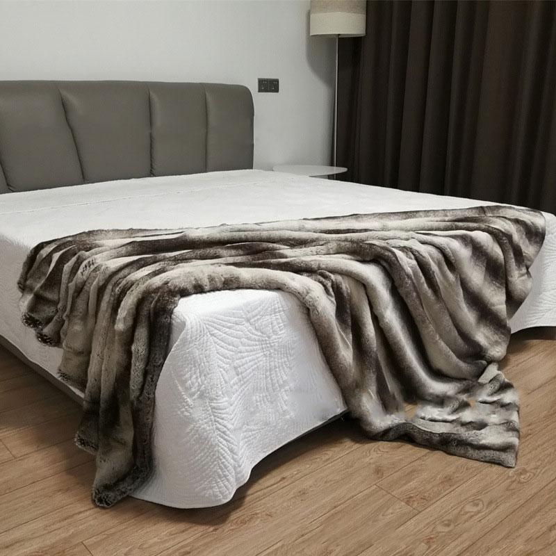 Couverture de lit de haute qualité imitation fourrure de lapin canapé couverture en cuir