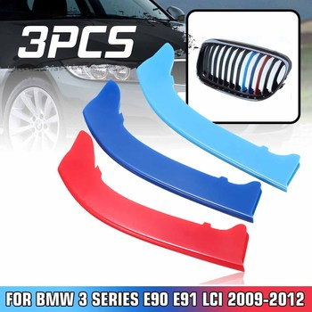 NEW 3pcs M Color Car Grille Stripe Cover Trim Decor Center Grill Sticker For BMW 3 Series E90 E91 LCI 2009-2012 image