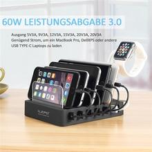 Ilepo 105w usb c estação de carregamento para todos os USB C portátil tablet do telefone celular carga rápida 3.0 20v 3a pd usb carregador 15v/3a 12v/3a