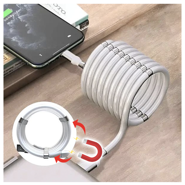 Magic Self-Coiling Charging Cable SuperCalla Magnetic Absorption Self Winding Cable USB Type C Cables 1M Length White Iphone