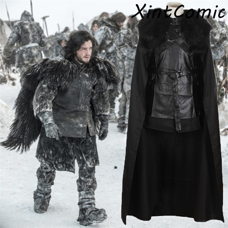 Game Of Thrones Costume Jon Snow Costume Outfit With Coat Halloween Clothing Ault Men Cosplay Costume Full Set Party