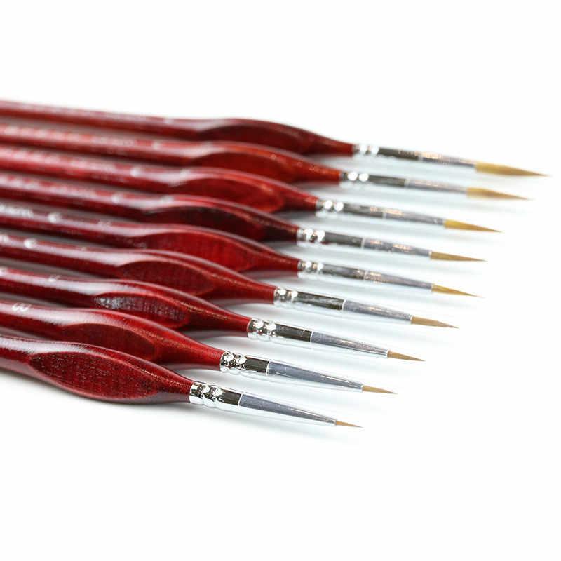 1PC קו בסדר מקצועי סייבל שיער צבע מברשת מיניאטורי אמנות מברשות ציור גואש ציור שמן מברשת אספקת אמנות