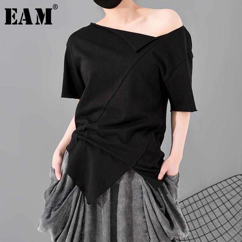 [EAM] Women Black Asymmetrical Cut Split Joint T-shirt New Round Neck Short Sleeve  Fashion Tide  Spring Summer 2020 A662