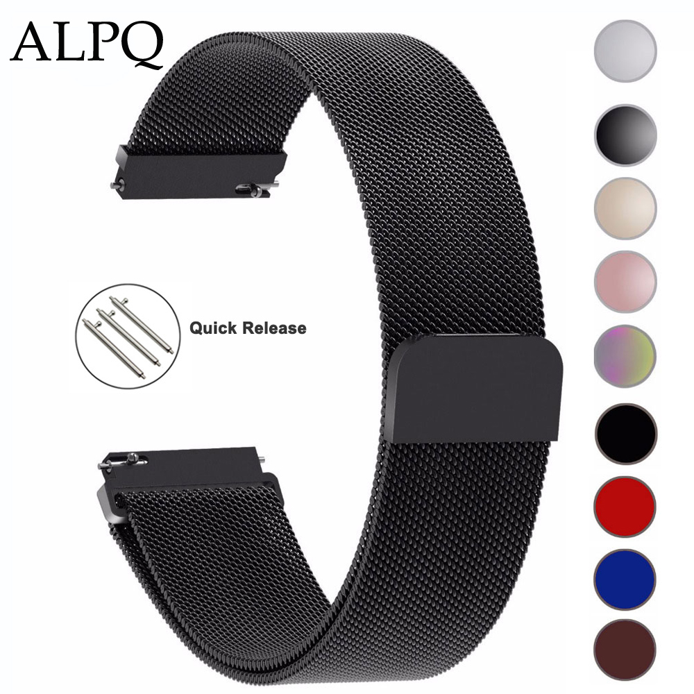 ALPQ 14mm 16mm 18mm 20mm 22mm 23mm 24mm Milanese Loop Wrist Strap Watch Band Bracelet Watchband Correa For Samsung Huami Garmin