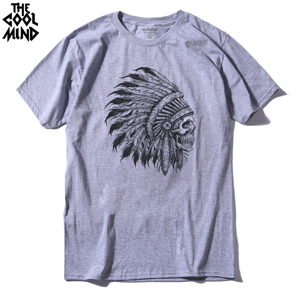 COOLMIND IN0101A 100% Cotton Short Sleeve Indian Head Print Men T Shirt Casual O-neck Summer Cool Tshirt Loose T-shirt Mens Pthd