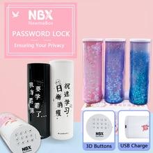 NBX Kombination Passwort Lock Bleistift Box Büro Schule Liefert Mädchen Kawaii Bleistift Fall Multifunktionale Große Make Up Schreibwaren