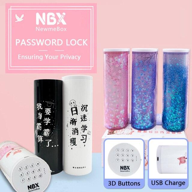 NBXรหัสผ่านล็อคกล่องดินสอOfficeอุปกรณ์โรงเรียนสาวKawaiiดินสอขนาดใหญ่แต่งหน้าเครื่องเขียน