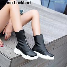 Kobiety zamek błyskawiczny z przodu platformy buty botki buty zimowe Sneaker marka jakości kobiet przypadkowi buty Sexy buty Plus size 32  46