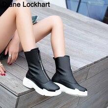 Mulheres frente zíper plataforma botas de inverno botas de tornozelo sneaker qualidade da marca feminina sapatos casuais sexy botas plus size 32 46