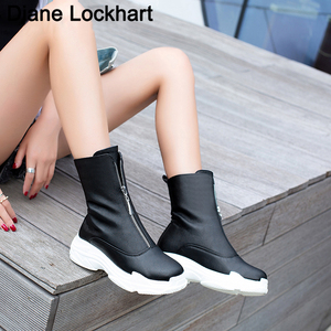 Image 1 - Women Front zipper Platform Boots Winter Shoes Ankle Boots Sneaker Brand quality Female Casual Shoes Sexy Boots Plus size 32 46