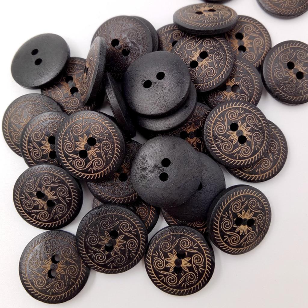 50 Uds. Botones redondos de madera para coser flores 2 agujeros accesorios de ropa 18mm
